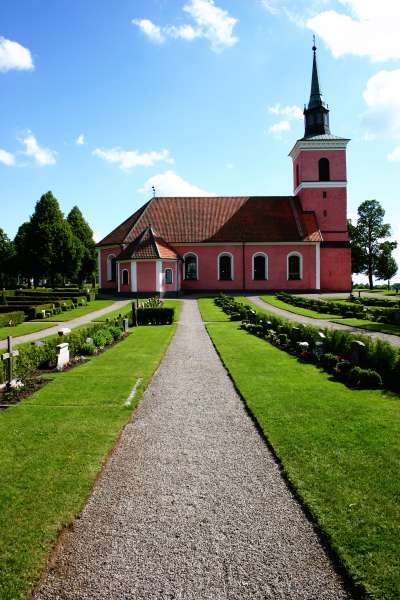 Slaka church, architecture, building, cemetery, church, clouds, grass, lawn, one, pink, sky, slaka, sweden, photo
